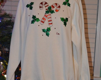 VTG Candy Cane and Holly Puff Paint Sweatshirt // Hanes Her Way // Handmade // Tacky Christmas Party // Size Large