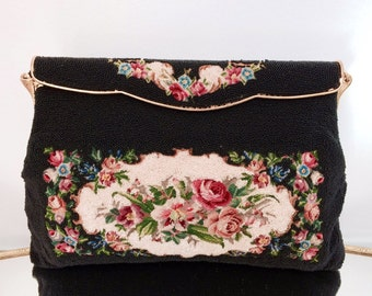Vintage Black Beaded Handbag Infused with Floral Petit Point and Heaping Moonlight Ivory Glass Beads Evening Accessories