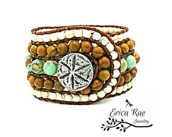 Leather wrap cuff bracelet, gemstone bracelet, jasper gemstone, wood grain jasper, white turquoise, turquoise bracelet, boho beach bracelet