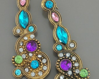 Statement Earrings - Aquamarine Earrings - Boho Earrings - Long Earrings - Antique Gold -  Colorful Earrings - Upcycle