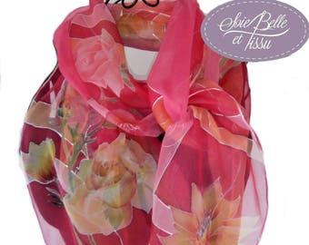"""foulard étole peint main sur soie rouge,foulard motif """"la valse des fleurs"""",écharpe en mousseline de soie, cadeau pour elle"""