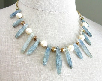 Kyanite Pearl Necklace Silk Knotted