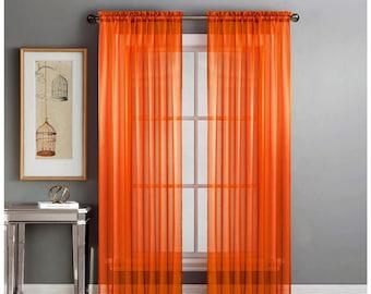 "2-Piece Orange Sheer Voile Window Curtain Panels 55""W X 84""L Each Panel"