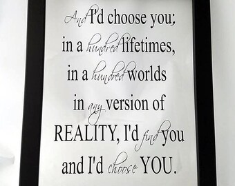 Mother in law Mothers Day gift - I'd Choose You Wall Art - Love Wall Decor - Groom to Bride Gift - Girlfriend Gift - Framed Inspirational