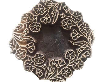 Round Floral Stamp Wood Block Stamp Indian Carved Stamp Block Print Stamp Textile Stamp Fabric Stamp