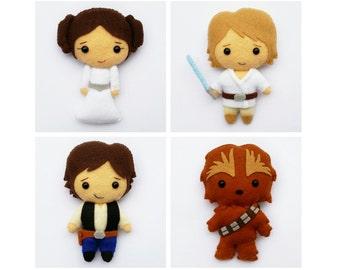 Star Wars Luke Skywalker Felt Plush Doll, Princess Leia Plush Doll, Han Solo Plush Doll, Chewbacca Doll, Star Wars Ornament