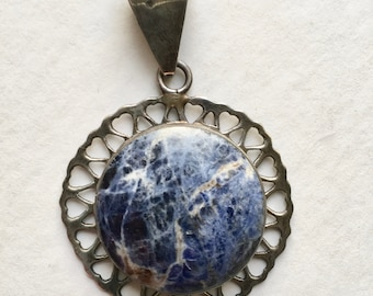 vintage large sterling and sodalite pendant