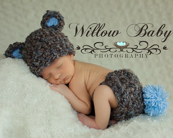 Baby Boy Hat - Baby Bear Hat and Diaper Cover - Soft chunky Yarn Size 0-9 months