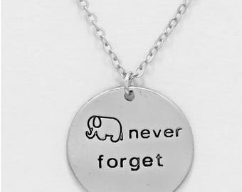 NEVER FORGET, inspired disc gold plated necklace