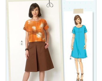 Butterick B6182 Size 6-14 or 14-22 Misses Top, Dress and Skirt Sewing Pattern / Uncut/FF