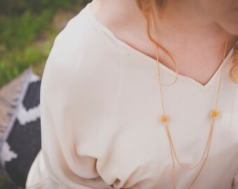 Edmee necklace - gold plated 18k - downton abbey Victorian reign gatsby 20s - bridal long necklace