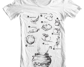 Womens' t-shirt - Illustrated - Borsch Recipe - Fitted - Graphic tee