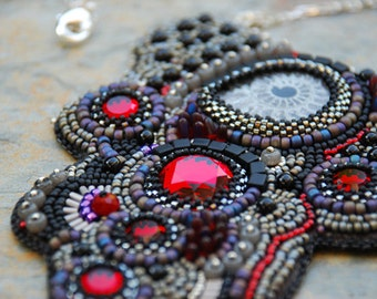 Canadian Vacation - Pyrite Ammonite Bead Embroidery Necklace
