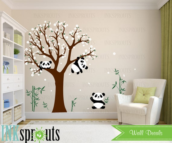 sticker chambre panda fleur arbre sticker dort panda panda. Black Bedroom Furniture Sets. Home Design Ideas