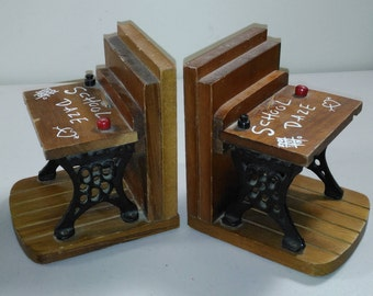 Vintage Eneseo Wood & Wrought Iron School Desk Bookends Made in Taiwan The Republic of China