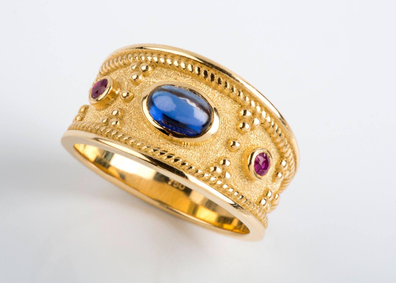 Mens Gold Ring Sapphire Mens Ring Man Gemstone Ring