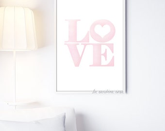 Love print, Pink nursery wall art, Love wall art, Girl room decor, Love quote, Watercolor Printable poster, mother's day gift #0002P