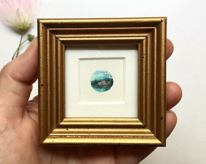 Mimosa / original tiny landscape painting framed / wildflower art / tiny gold frame