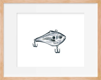 Fishing Lure 103 Print, Hook, Fishing Decor, Fishing Print, Hunting and Fishing, Fish Art, Boys Room Art, Home Decor, Watercolor Print