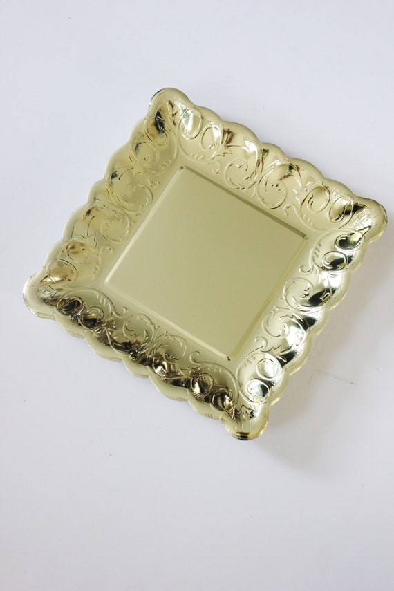 & 12 GOLD Small Paper Plates Square Glam Parisian Vintage Style