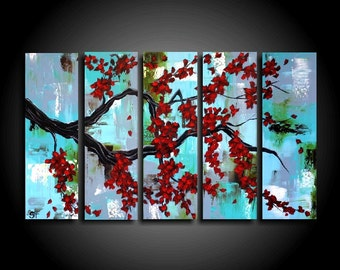 Original Large Abstract Painting. 5 Piece Asian Painting Red Tree Modern Original Art Contemporary 24 x 40 Blue Canvas Wall Art