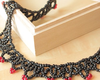 18 inch Black Beaded Choker Necklace with Red Beaded Accents, handwoven, halloween, costume