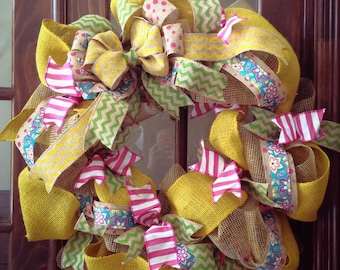 Burlap Wreath- Yellow