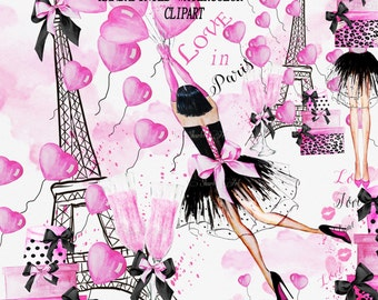 Valentine Clipart Watercolor Fashion Watercolor Clipart Planner Girl Illustration Planner Cover  Planner Stickers Girly Planner Supplies DIY