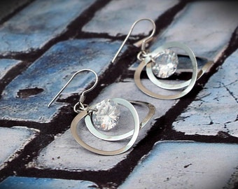 WHITE STAR Earrings, Dangle Drop Earrings, Sterling Silver, Inspirational, Statement, Earrings, Jewelry, Gift for Mom, Wife, Girlfriend, Her