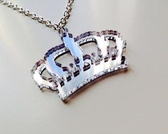 Sale | Crown | Game Of Thrones  | Royal | Queen | Princess | Silver | Mirror | Laser Cut | Acrylic | Necklace