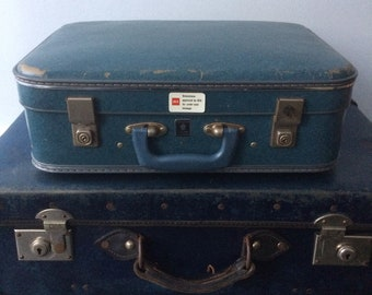 Blue Crown Luggage Suitcase Small 1970s Hand Luggage Carry Case