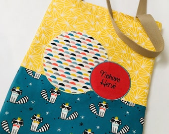 """Fabric bag or also called """"tote bag"""" - cotton - teal, yellow and rust Red"""