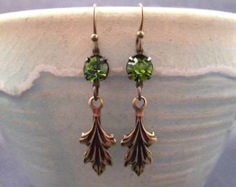 Rhinestone Earrings, Olive Green Glass and Leaf Earrings, Brass Dangle Earrings, FREE Shipping U.S.
