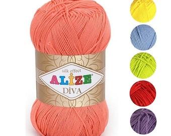 Yarn Alize Diva yarn 100% microfiber yarn acrylic yarn hypoallergenic yarn microfiber thread acrylic thread summery yarn microfiber string