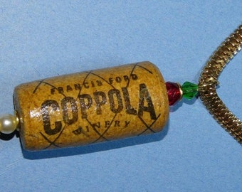 """OOAK handcrafted re-purposed wine cork necklace """"Coppola"""""""