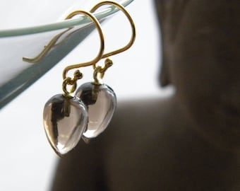 Smoky Quartz Earring, Inverted Water Drop Earrings, Gift for Her, KarenWolfeCreations, Semi Precious Smoky Quartz Earrings, Vermeil earwires