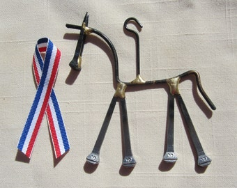 Horse Ornament with Free Patriot Ribbon - Handcrafted Horseshoe Nail Art