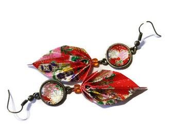 origami earrings red leaf, origami earrings red cabochon earrings, red earrings, Japanese earrings, red paper earrings
