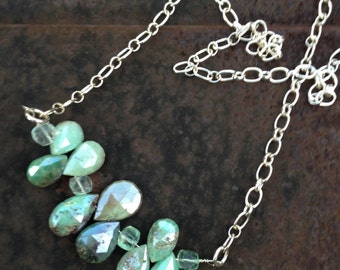 Chocolate Mint Mystic Chrysoprase and Florite Sterling Silver Chain Necklace   Gemstone jewelry  Teardrop Briolette Bar Necklace