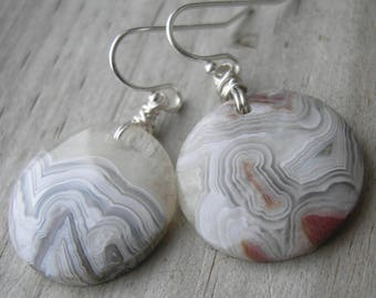Crazy Lace Agate Coin Sterling Silver Wire Wrapped Earrings