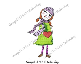Girl With Heart Hand Drawn Machine Embroidery Design Digital File