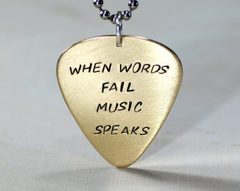 When words fail music speaks bronze guitar pick necklace - NL812