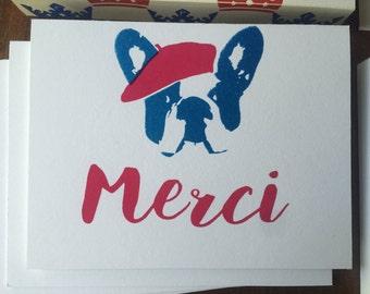 Thank You Card - Merci with French Bulldog
