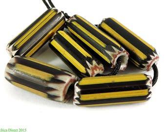 6 Yellow Jacket Chevron Venetian Trade Beads Africa Loose 101329