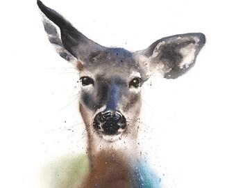 Deer print deer gifts watercolor deer painting deer wall art deer decor deer lover doe painting deer artwork doe art doe print doe decor