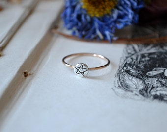Pentacle Star Molten Silver Gold Stacking Ring -made to order