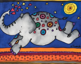 "Elephant painted on silk - whimsical ""Felicity"" will make you smile!"