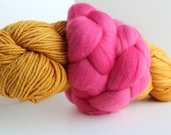 Thrummed SLIPPER SOCK kit - Yellow/Pink- Hand dyed Merino yarn and roving Pattern included
