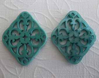 Turquoise Filigree Diamond - 40X33mm Connector or Pendant - Lacy Laser Cut - Two-Sided - Lucite from Germany - Qty 1