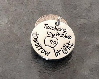 "1 ""Teachers make tomorrow bright"" pendant, teacher gift, apple necklace, stamped pendant, teacher keychain"